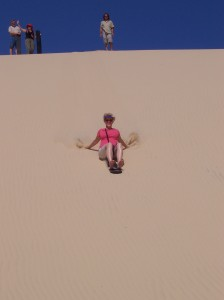 Surfing the sand dunes at Newcastle, Australia