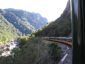 Copper Canyon Train as it rolls along the canyon valley