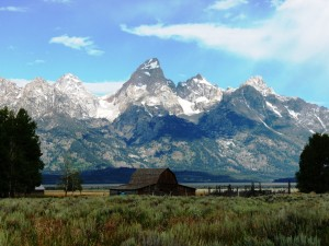 Teton Mountain Range with abandoned Mormon barn
