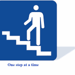 Person walking up one step at a time