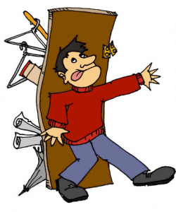 Man trying to hold back the closet door, a closet overflowing