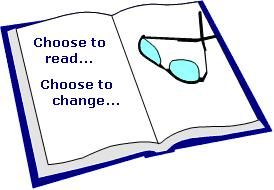 open book with glasses - choose to read, choose to change